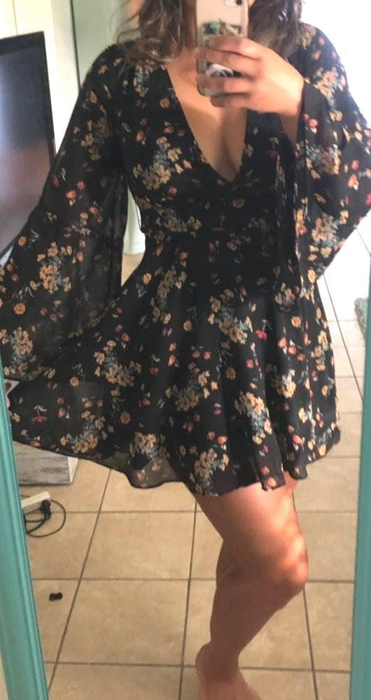 Free People Black Floral Mini Dress