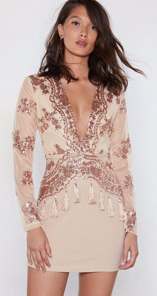Nasty Gal Low Cut Sequin Dress