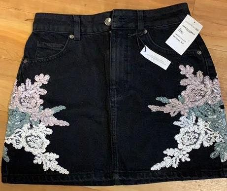 Topshop Black Denim skirt with floral detail!