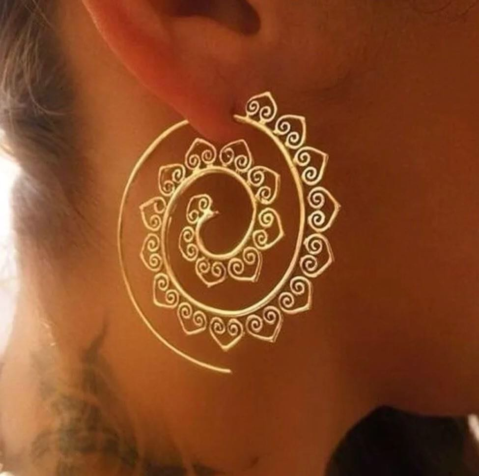 Bohemian Style Gold Hoop Earrings