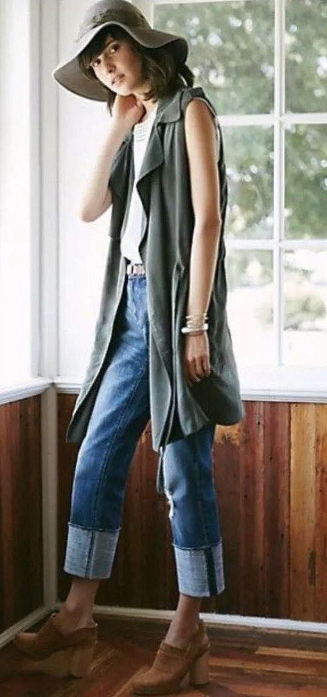 Elevenses Anthropologie Draped Trench Vest