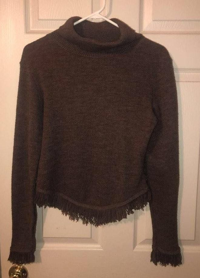 Brown fringe Sweater