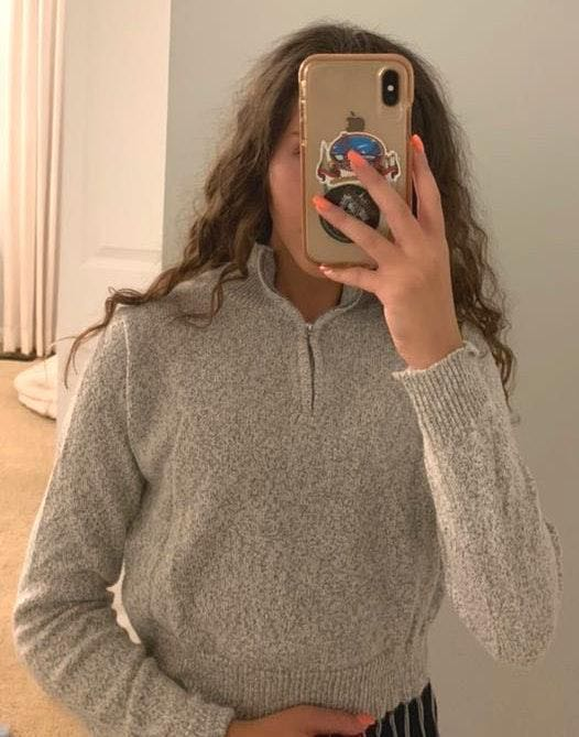 Brandy Melville Knit Grey Zip Up
