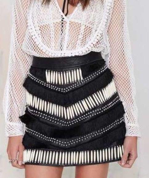 Nasty Gal Black 100% Real Leather Fringe Skirt
