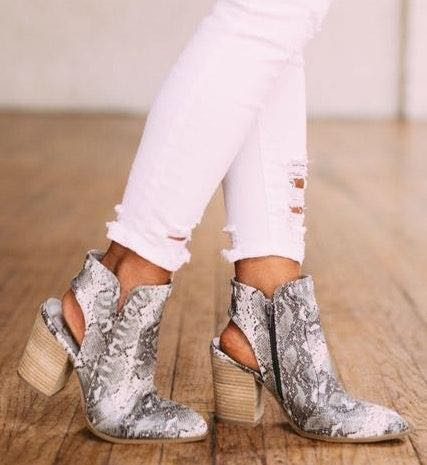 These Three Boutique Snake Print Booties