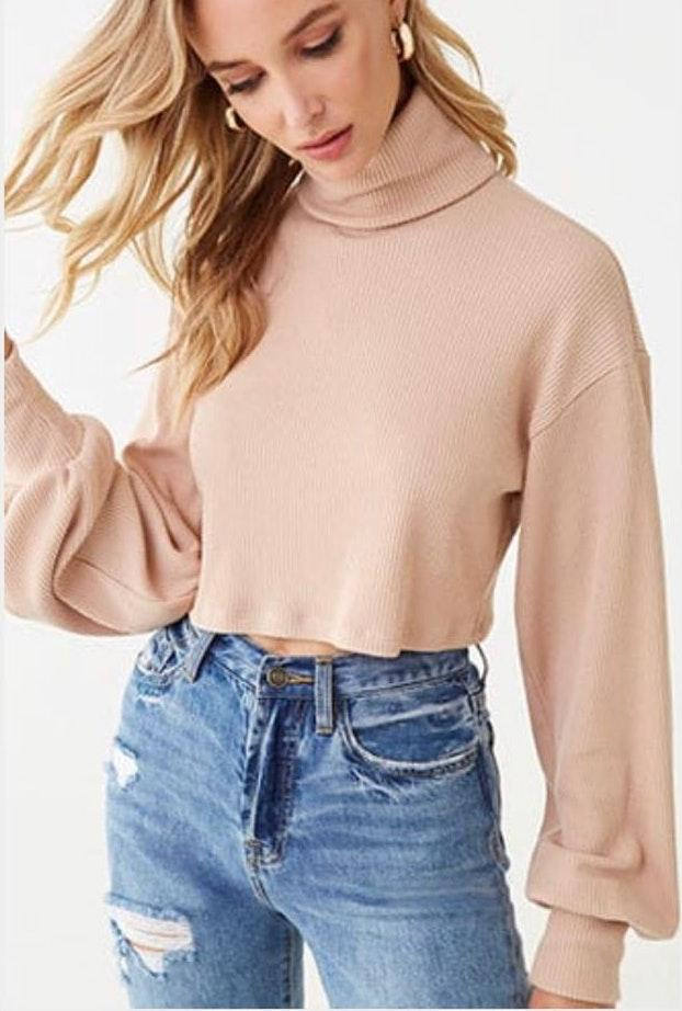 Forever 21 NWT Tan Bell Sleeved Cropped Sweater