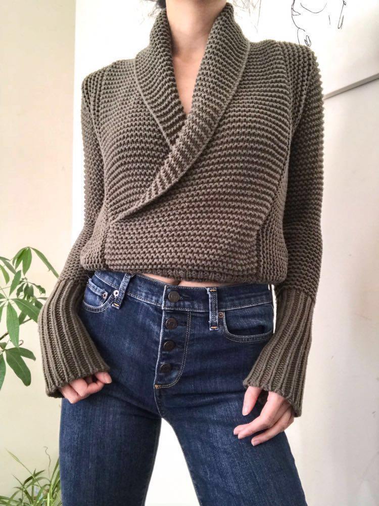 American Eagle Outfitters AE Soft Chunky Knit Wrap Sweater