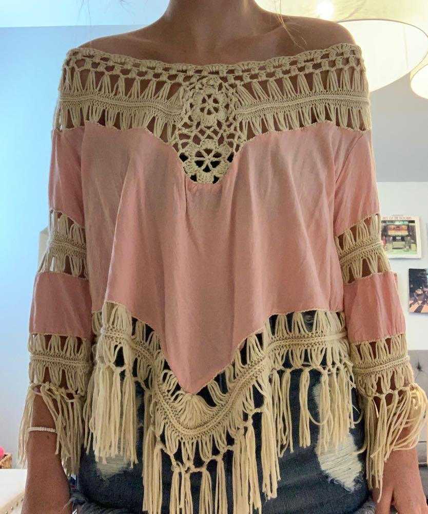 Umgee Pink Fringe Shirt
