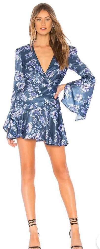 Revolve Silk Floral Long-sleeved Dress