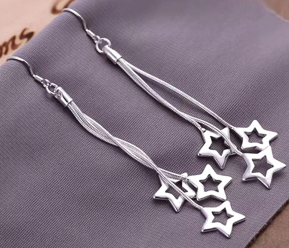 Brand New .925 Sterling Silver Star Dangle Earrings-Stamped