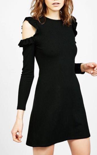 Berksha Cold Open Shoulder Ribbed Dress