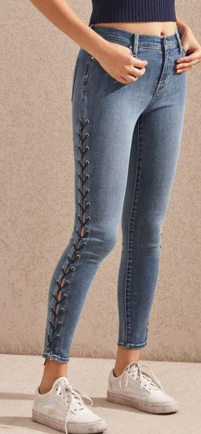 Pacsun High Rise Jeggings With Lace-Up Side