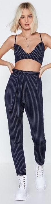 Nasty Gal Pinstripe Top And Pants Set