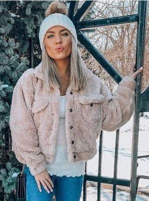 Olivia Hudson boutique Sandy- Beige Fur Button Down Jacket