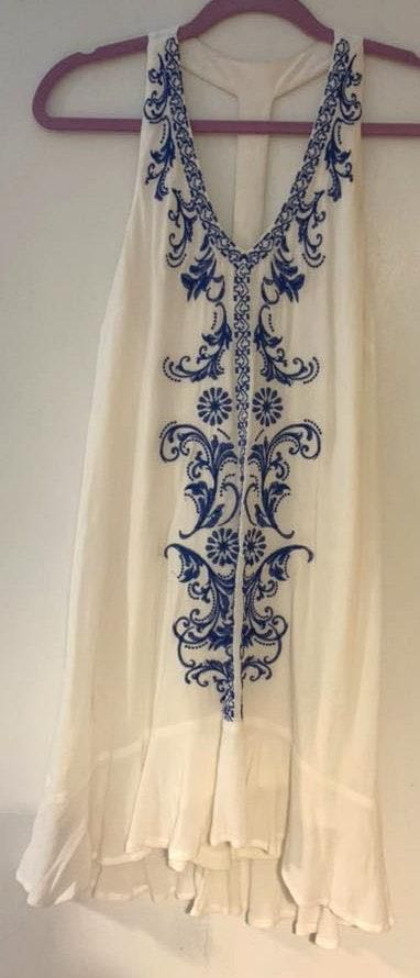Nordstrom White dress with blue embroidering
