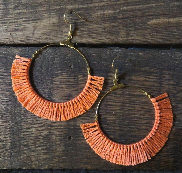 BOHO Coral Short Fringe Hoop Earrings