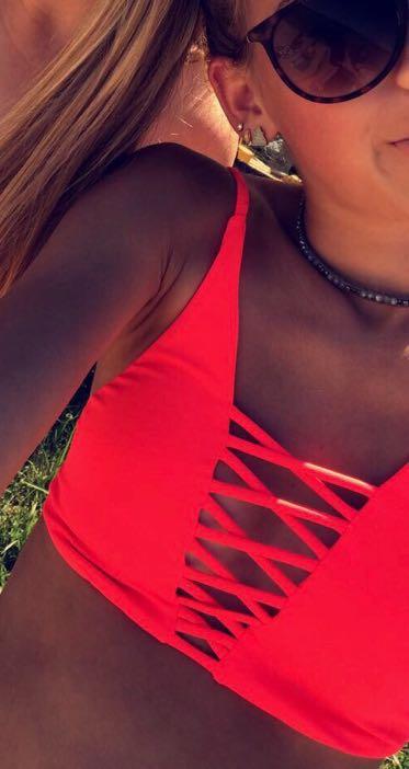 Billabong Hot Pink Cross Front Bikini Top