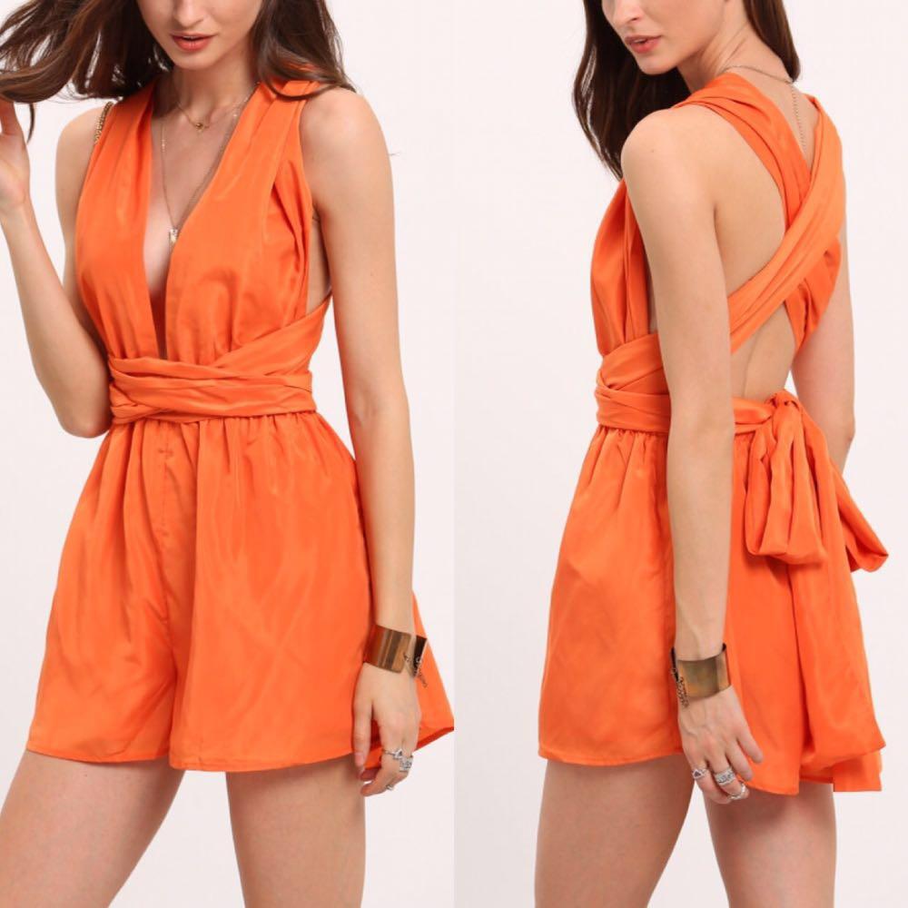 Boutique Orange Multi-way Romper