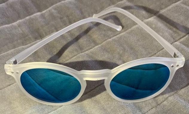 Blue Mirrored Clear Frame Sunglasses...