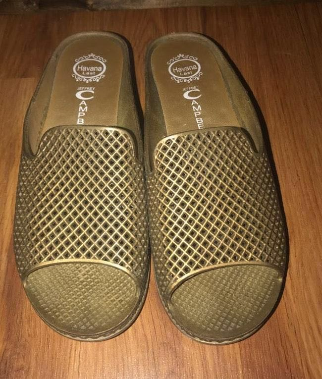 5254fd0a392d We re the buy sell app for cute clothes. Say to being bored of your  clothes. Home Jeffrey Campbell Gold Jelly Slides