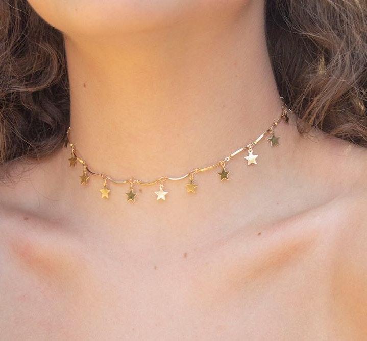 Gold Star Drop Choker Necklace