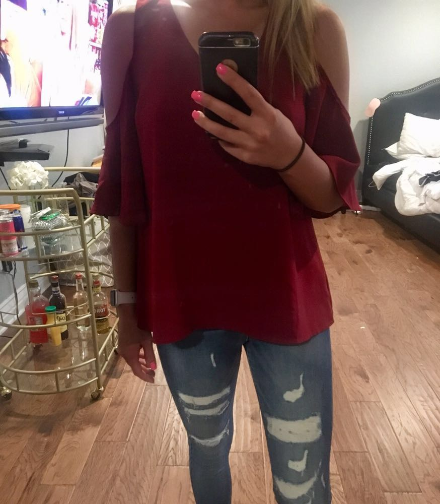 C. Luce Game Day Off The Shoulder Red Top