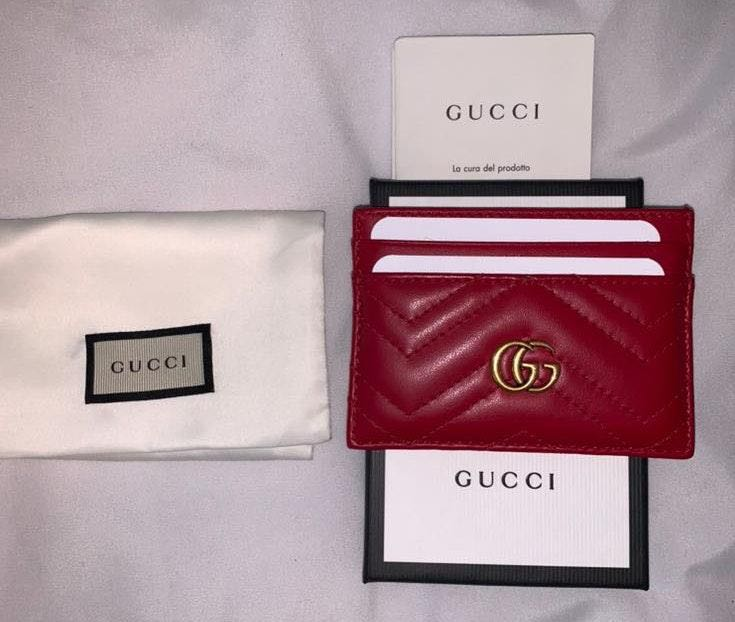 Gucci Red Leather Marmont Wallet