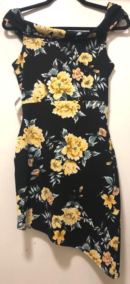 Love Culture Black & Yellow Asymmetrical Dress