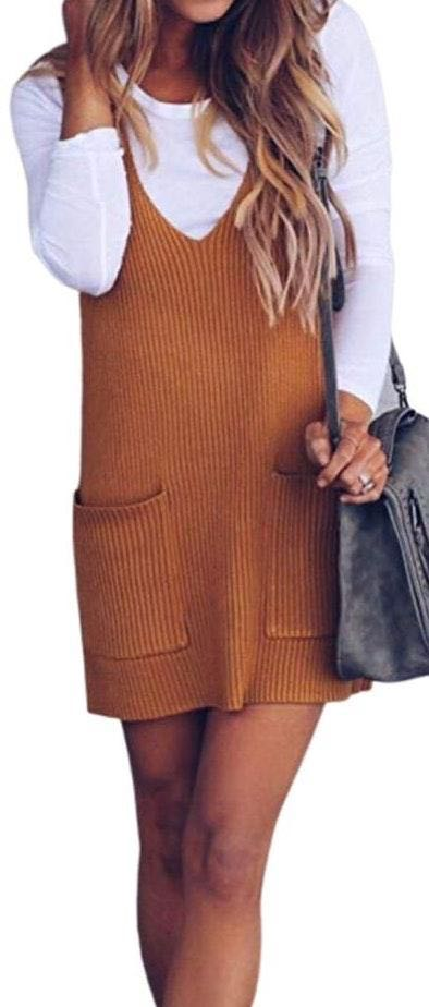 Don't Ask Why DON'T ASK WHY🧡Ribbed Knit loose V neck dress