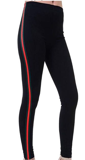Amazon Brand New Leggings With Red And Green Stripe Down The Side