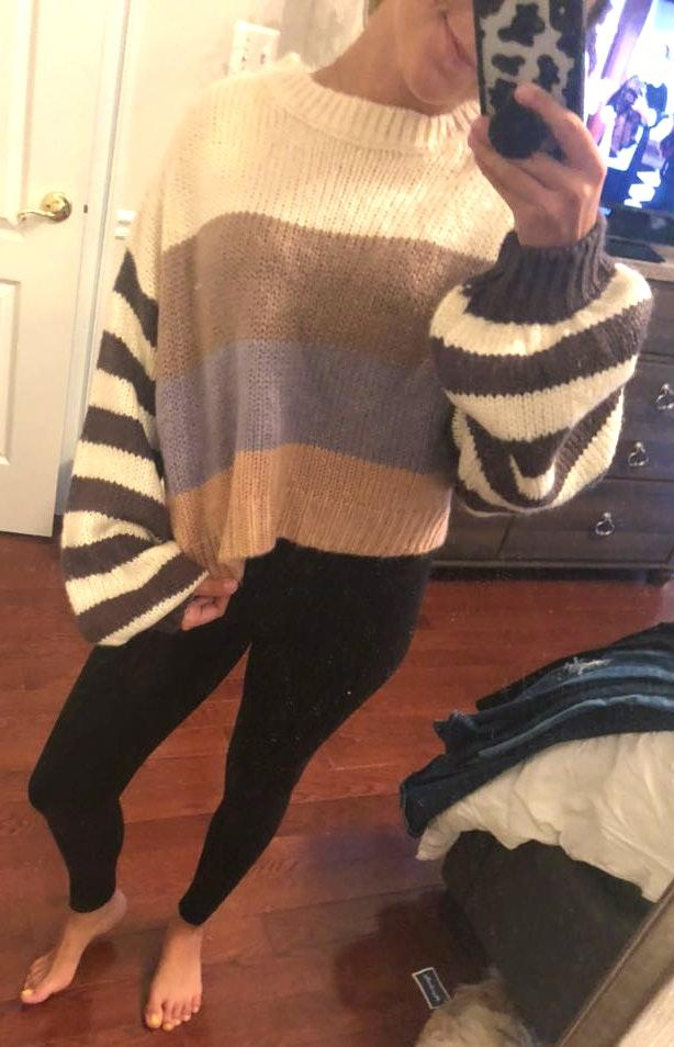 Forever 21 Striped Funky Sweater