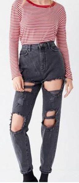 Urban Outfitters Black Distressed High Waist Jean