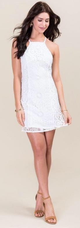 06f6537bae5 Francesca s Tan And White Striped Wrap Dress