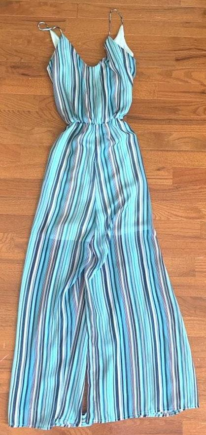 Boutique Striped Jumpsuit With Tye At The Waist