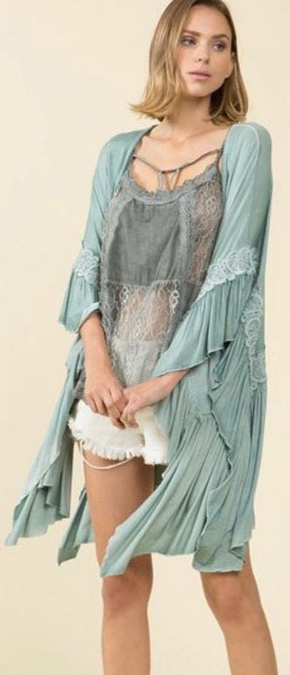 POL Lace Boho Sage Kimono