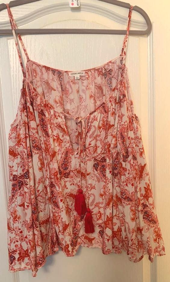 Cotton Candy LA Red/white Paisley Off The Shoulder Shirt
