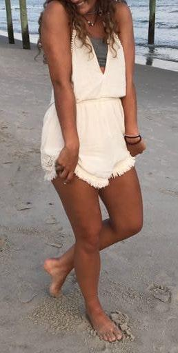 American Eagle Outfitters White Boho Romper