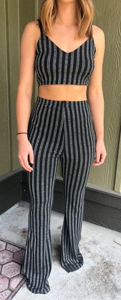 Forever 21 Striped Pant Set