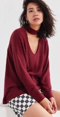 Silence + Noise Maroon Open Mock-Neck Sweater