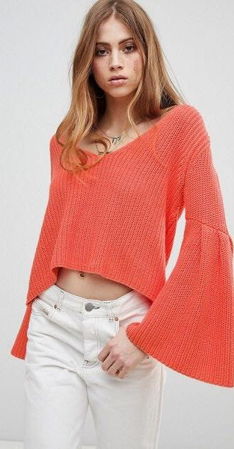 Free People Damsel Flared Sleeve Knit Sweater