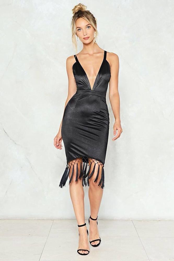 Nasty Gal Satin Black Dress