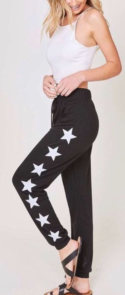 Fantastic Fawn Cute Graphic Star Print Black Lightweight Pants