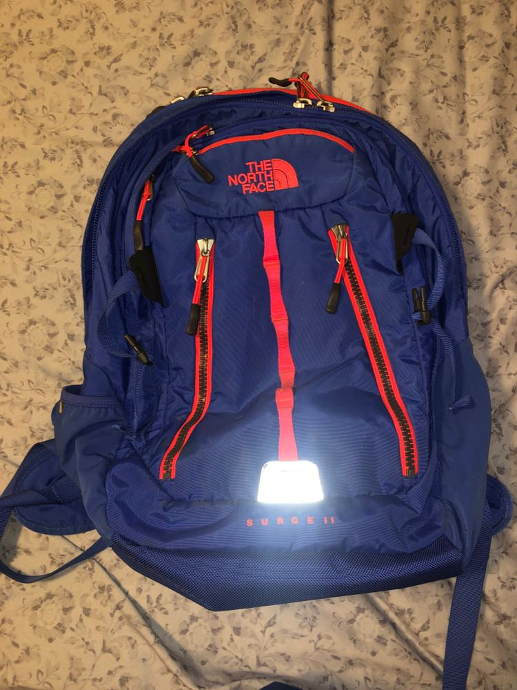 The North Face Blue And Pink North Face Surge II Backpack