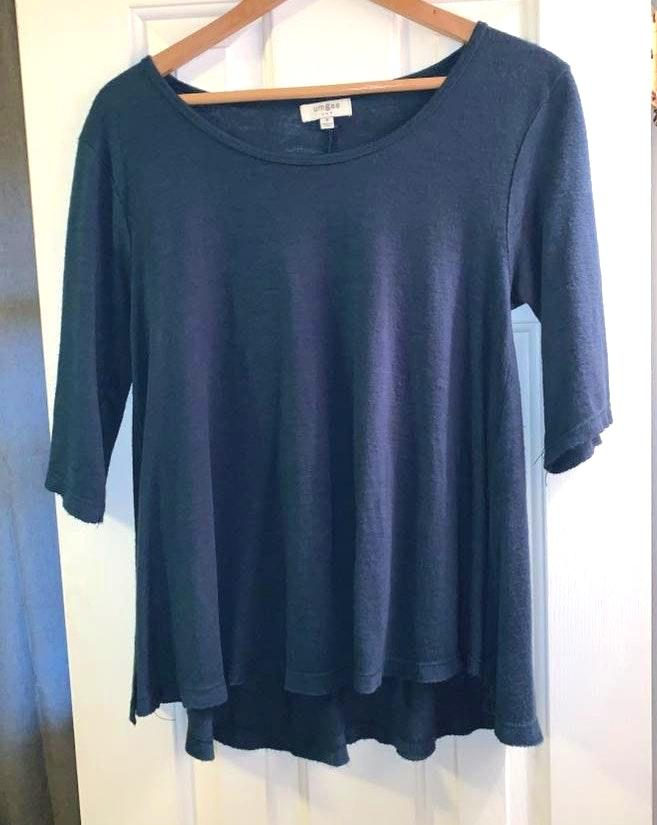 Umgee Dark blue 3/4 sleeve plain shirt