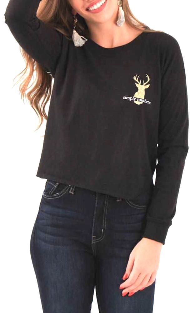 "Simply Southern 🌸SOLD🌸NWT  ""Hey Deer"" 🦌Cropped Long Sleeve Tee..Size Large"