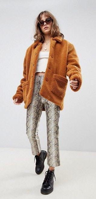 Honey Punch Snake Skin Leather Pants