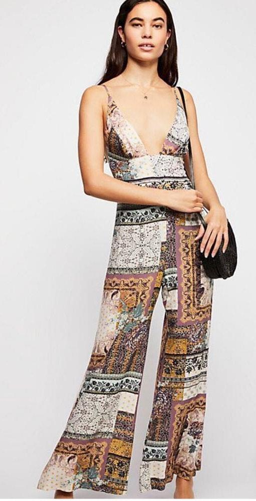 Free People Floral Patchwork Jumpsuit
