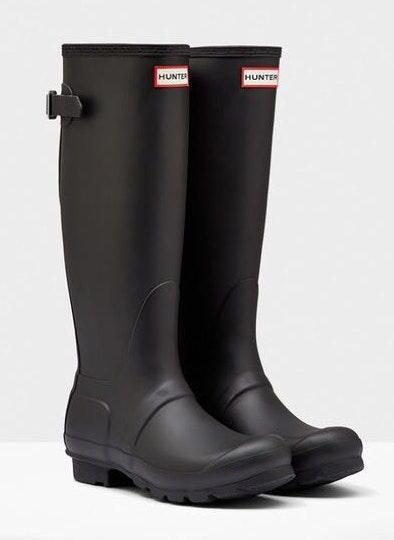 Hunter Black tall  rain boots.