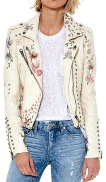 BLANK NYC Cream Floral Leather Jacket