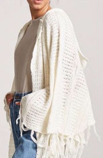 Forever 21 White Hooded Cape